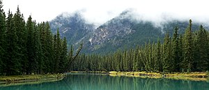 The Bow River near the Banff townsite in Alber...