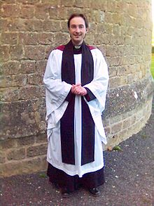 Anglican priest in choir habit. Photo taken by Gareth Hughes, 2005.