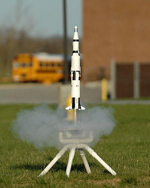 Launch of a multistage model rocket.