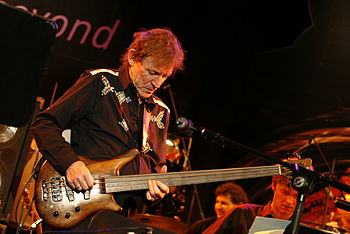 English: Jack Bruce performing on his fretless...