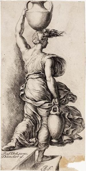 English: Engraving of a woman with a water jug...