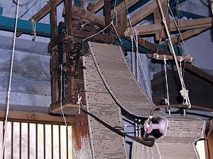 English: Punched card loom mechanism in silk w...