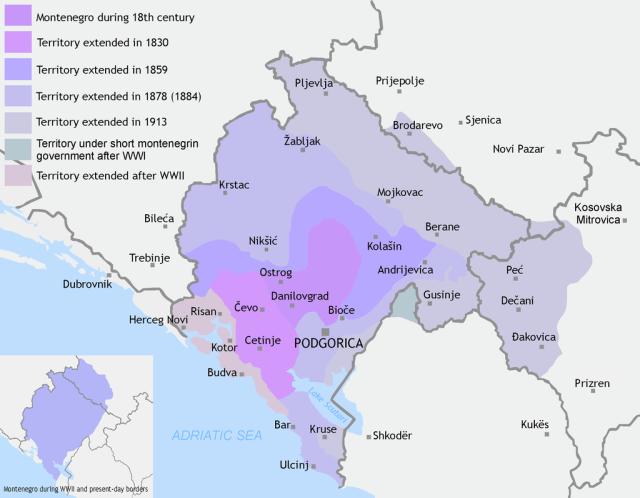 1024px Montenegro territory expanded %281830 1944%29 Сој и несој у Црној Гори