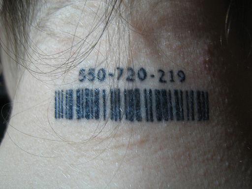 Neck barcode tattoo
