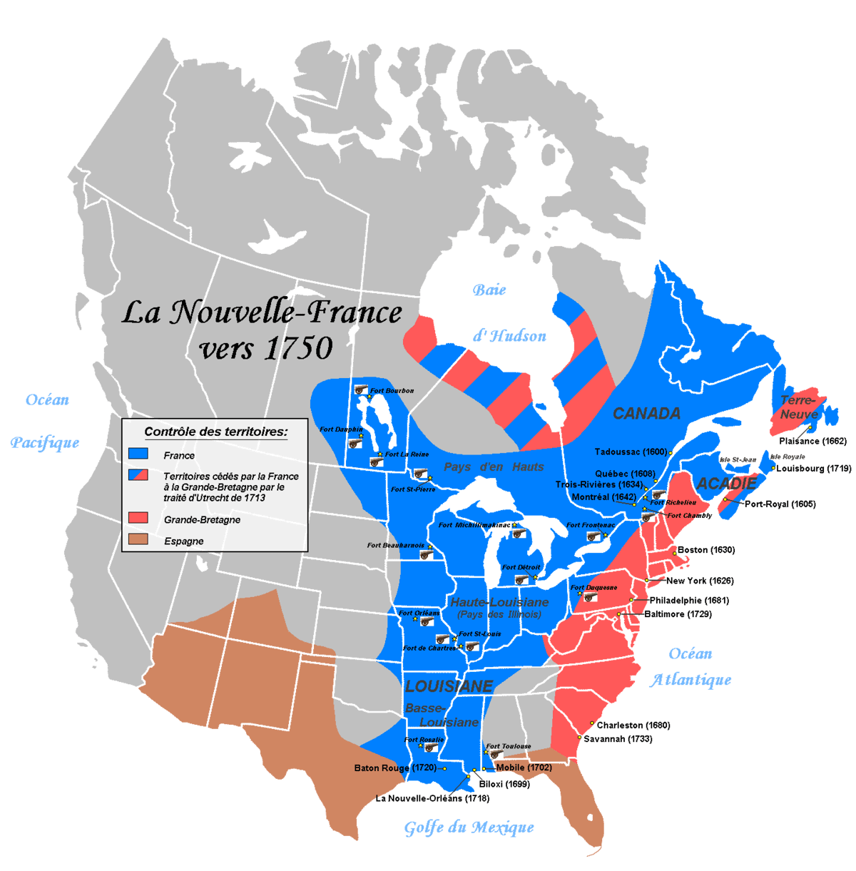Map Colonial America 1750