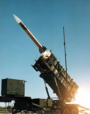 A U.S. Patriot Missile launches from a truck m...