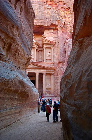 English: Petra, view on Al Khaznehfrom the siq...