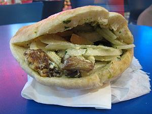 English: Sabich, Iraqi-Jewish pita sandwich po...