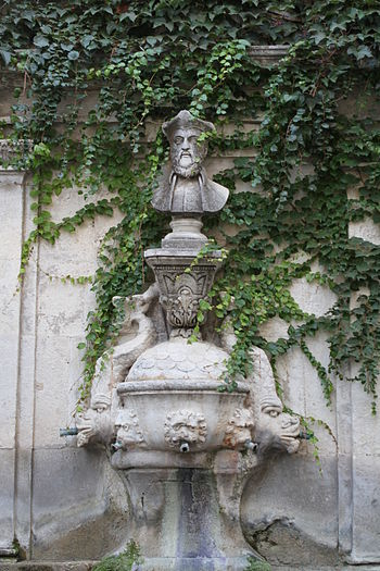 English: Nostradamus fountain in Saint-Rémy-de...