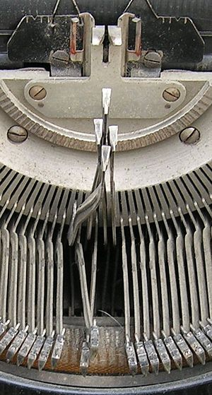 Typebars, showing the guiding mechanism till t...