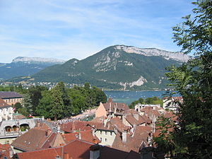 View of Annecy, France, toward the lake from t...