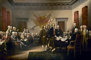 Founding Fathers listen to the draft of the Declaration of Independence