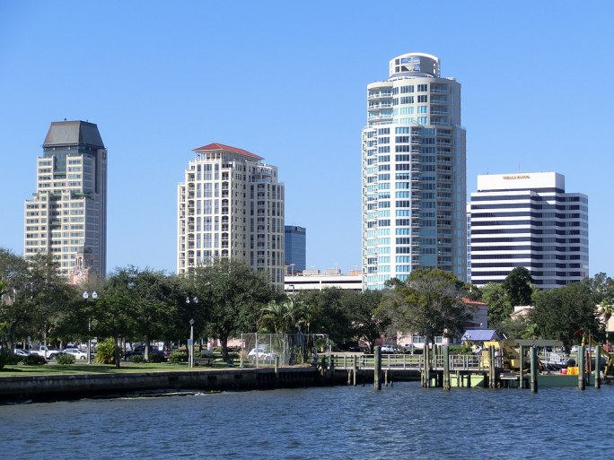 Downtown St. Petersburg Florida from Spa Beach Park
