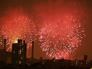The New York City fireworks over the East Vill...