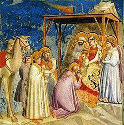 Visita dei Magi: San Giuseppe, Maria e i Re Magi con Gesù Bambino