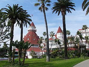 The front of the Hotel del Coronado in Coronad...