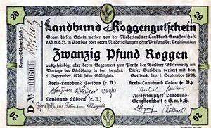 Landbund Roggengutschein Zwanzig Pfund Roggen
