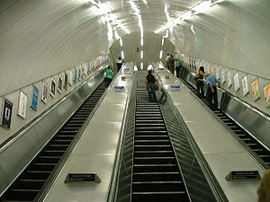 A typical escalator tube on the London Underground