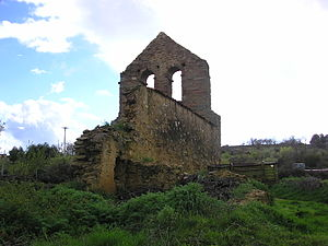 Ruined church with large bell-gable near Tábara