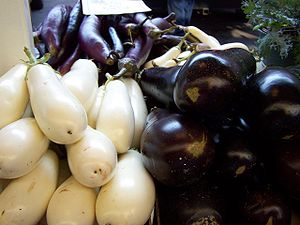 English: Three varieties of Eggplant