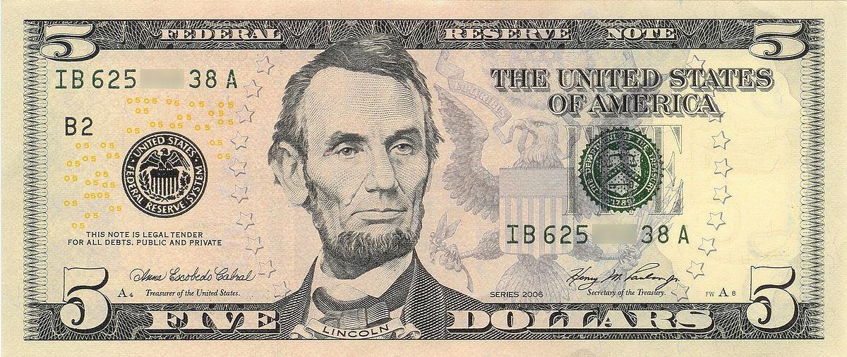 United States Fivedollar Bill  Wikipedia