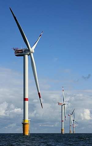 Newly constructed windmills D4 (nearest) to D1...