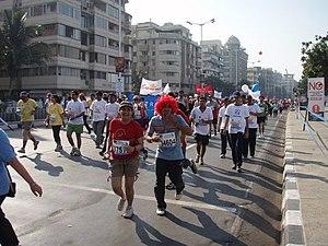 Runners at 2008 Mumbai Marathon.