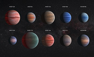 Comparison Of Hot Jupiter Exoplanets Artist Concept From Top Left To Lower Right Wasp 12b Wasp 6b Wasp 31b Wasp 39b Hd 189733b Hat P 12b
