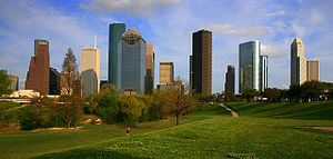 Photograph of the skyline of Downtown Houston,...