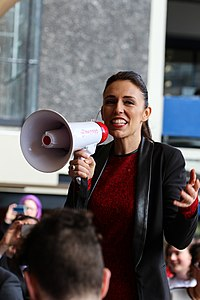 Ardern campaigning at the University of Auckland in 2017