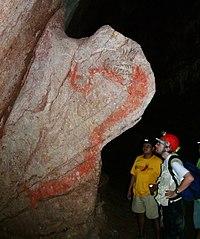 La serpiente emplumada en las grutas de Juxtlahuaca de la cultura olmeca