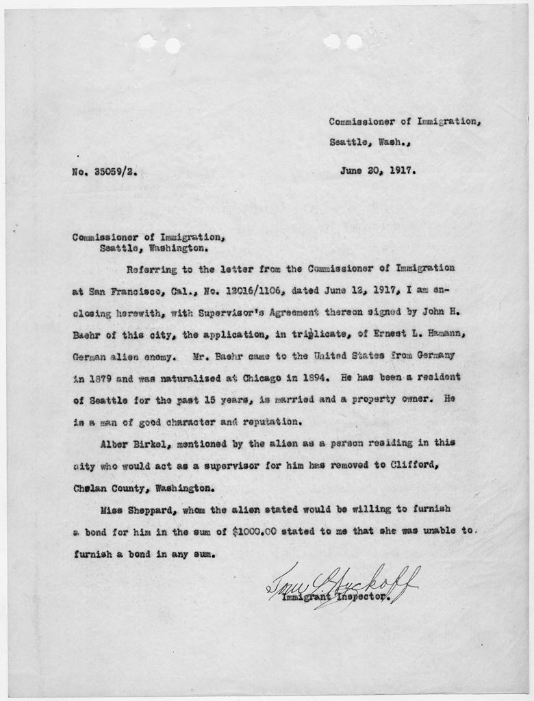 File:Letter to Commissioner of Immigration, Seattle