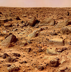Rocks on surface of Mars imaged by Pathfinder