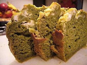 Matcha and banana bread with cream cheese.