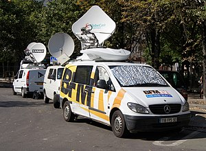 English: outside broadcasting vans of french T...