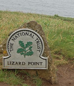 The National Trust sign at Lizard Point, Cornwall