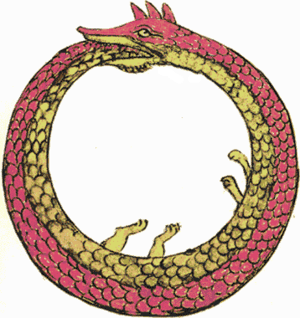 The Ouroboros, a dragon that bites its tail, i...