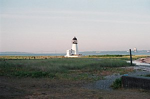 English: Sand Point Light on Prudence Island, ...