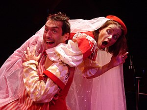 Petruchio (Kevin Black) and Kate (Emily Jordan...