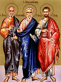 Three of the Seventy Disciples, from the left:...