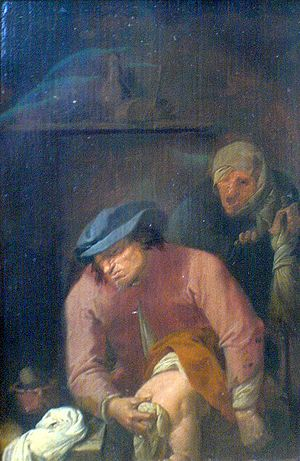 Unpleasant duties by Adriaen Brouwer, depictin...