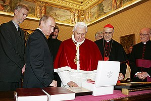 English: VATICAN. With Pope Benedict XVI. Русс...