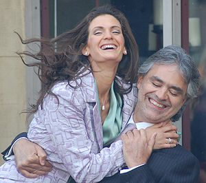 Andrea Bocelli with his fiancé, Veronica Berti...