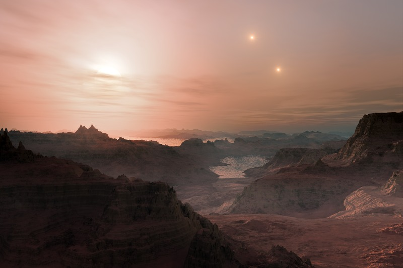 Artist's impression of sunset on the super-Earth world Gliese 667