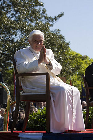 Pope Benedict XVI acknowledges guests Wednesda...