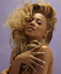 250px Beyonce Knowles with necklaces Platinum Blonde Afro Hair