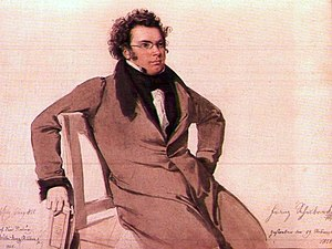 English: Watercolour portrait of Franz Schubert
