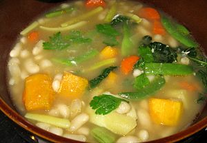 soup featuring cannelini beans, haricots verts...