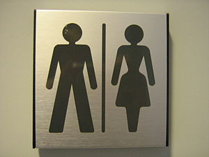 English: Gender neutral toilet sign at departm...