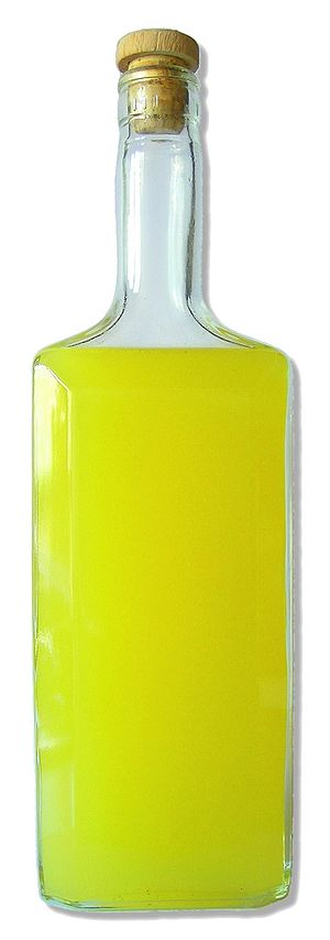 a bottle of home-made Limoncello (made by me)